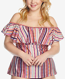 Raisins Curve Trendy Plus Size Tortigua Printed Off-The-Shoulder Flounce Tankini Top
