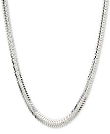 "Giani Bernini Flat Snake Chain 18"" Collar Necklace in Sterling Silver, Created for Macy's"