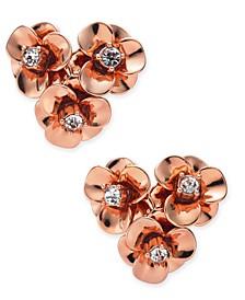 Gold-Tone Pavé Flower Cluster Stud Earrings