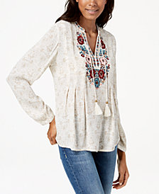 Vintage America Julia Embroidered Peasant Top