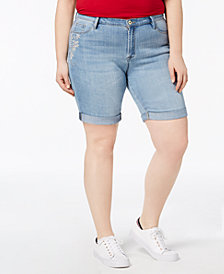 Tommy Hilfiger Plus Size Embroidered Denim Shorts, Created for Macy's