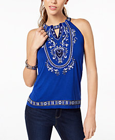 I.N.C. Petite Embroidered Keyhole Top, Created for Macy's