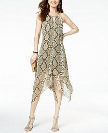 I.N.C. Snake-Print Keyhole Dress, Created for Macy's