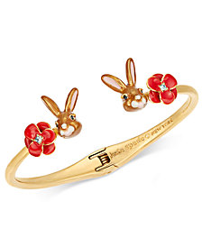 kate spade new york Gold-Tone Pavé Flower & Bunny Cuff Bracelet