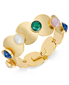 kate spade new york Gold-Tone Multi-Stone & Polished Disc Link Bracelet