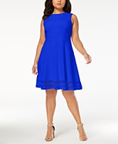 d8b23f7f590a2 Calvin Klein Plus Size Illusion-Trim Fit   Flare Dress