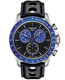 Men's Swiss Chronograph V8 Alpine Black Leather Strap Watch 42.5mm