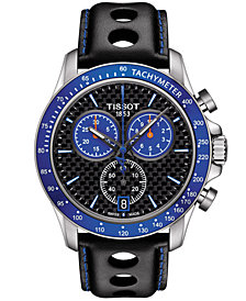 Tissot Men's Swiss Chronograph V8 Alpine Black Leather Strap Watch 42.5mm