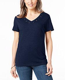 Karen Scott Cotton Grommet-Detail Top, Created for Macy's