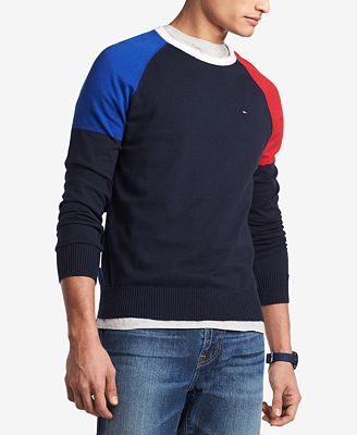 Tommy Hilfiger Mens Perry Colorblocked Raglan Sleeve Sweater