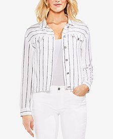 Vince Camuto Pinstriped Button-Up Jacket