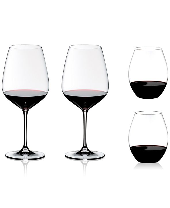 Riedel CLOSEOUT! 4-Pc. O Stemless & Cabernet Stemmed Red Wine Glasses + Gift Set