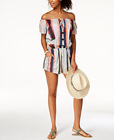 Lucky Brand Sonora Cotton Off-The-Shoulder Romper Cover-Up