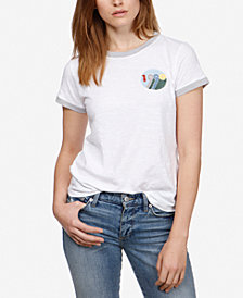 Lucky Brand Cotton Embroidered 1990 T-Shirt