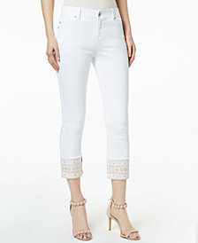 I.N.C. Petite Embroidered-Cuff Cropped Skinny Jeans, Created for Macy's