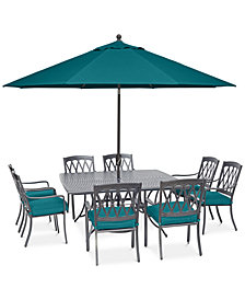 "CLOSEOUT! Glenwood Outdoor  9-Pc. Dining Set (64"" X 64"" Dining Table & 8 Dining Chairs) with Sunbrella® Cushions, Created for Macy's"