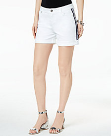 "I.N.C. Curvy-Fit Side-Stripe 5"" Denim Shorts, Created for Macy's"