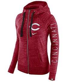 Nike Women's Cincinnati Reds Gym Vintage Full Zip Hooded Sweatshirt