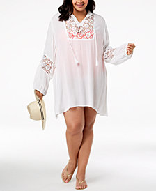 Raviya Plus Size Crochet Tunic Cover-Up