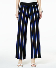 I.N.C. Striped Wide-Leg Trousers, Created for Macy's
