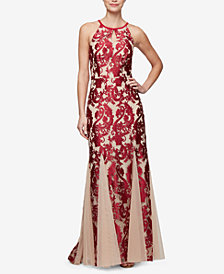 Alex Evenings Embroidered Mermaid Gown
