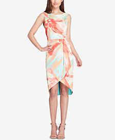 Tahari ASL High-Low Faux-Wrap Dress