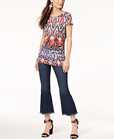 I.N.C. Ikat-Print Top & Cropped Flare-Leg Jeans, Created for Macy's
