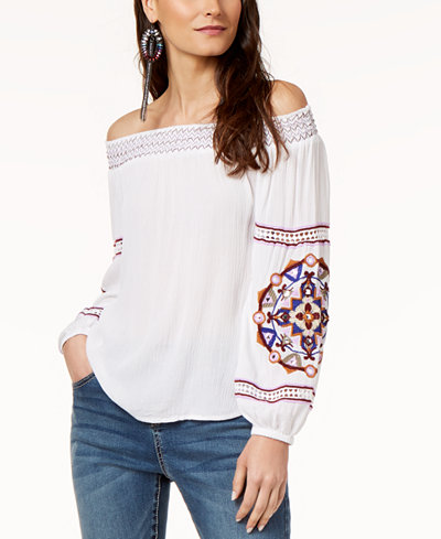 I.N.C. Off-The-Shoulder Embroidered Top, Created for Macy's