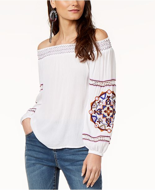 INC International Concepts I.N.C. Off-The-Shoulder Embroidered Top, Created for Macy's
