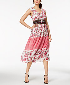 Taylor Printed Banded-Waist Midi Dress