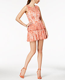 BCBGeneration Ruffle Lace Fit & Flare Dress