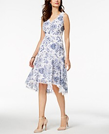 V-Neck Floral Printed Lace Midi Dress