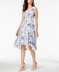V-Neck Floral Printed Lace Midi Dress