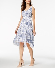 Taylor V-Neck Floral Printed Lace Midi Dress