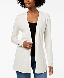 Petite Pointelle-Trim Open-Front Cardigan, Created for Macy's