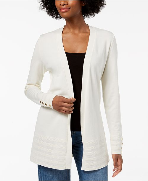 67a61603228 ... Charter Club Petite Pointelle-Trim Open-Front Cardigan