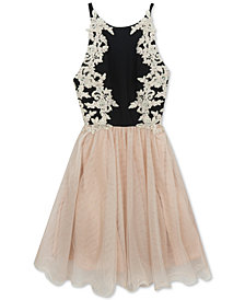 Rare Editions Big Girls Lace-Trim Halter Dress