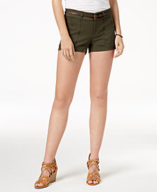 Be Bop Juniors' Belted Cactus-Charm Shorts
