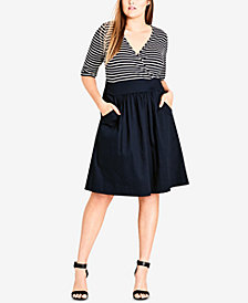City Chic Trendy Plus Size Surplice-Neck Fit & Flare Dress