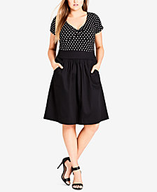City Chic Trendy Plus Size Gathered-Front Fit & Flare Dress