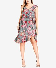 City Chic Trendy Plus Size Ruffle-Trim Faux-Wrap Dress