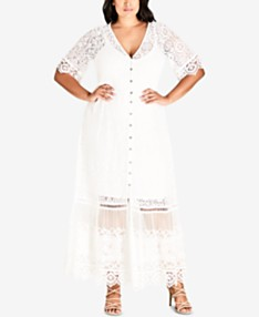 Ivory/Cream Lace Dress Plus Size Dresses - Macy\'s