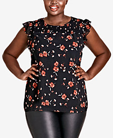 City Chic Trendy Plus Size Printed Flutter-Sleeve Top