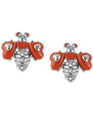 Betsey Johnson Silver-Tone Pavé & Stone Bee Stud Earrings