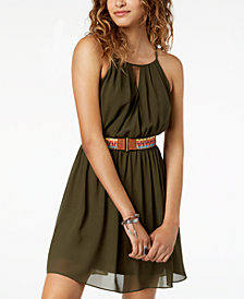 BCX Juniors' Belted A-Line Dress