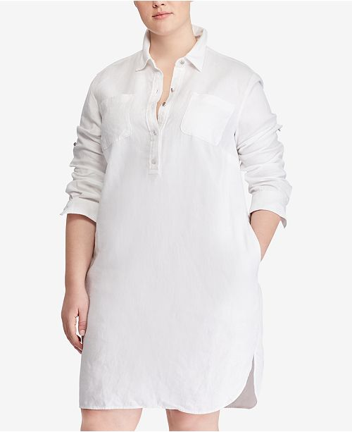 Lauren Ralph Lauren Plus Size Linen Shirtdress & Reviews ...