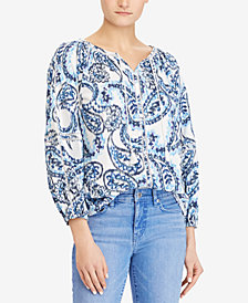 Lauren Ralph Lauren Paisley-Print Cotton Top, Created for Macy's