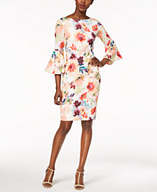Calvin Klein Printed Bell-Sleeve Dress
