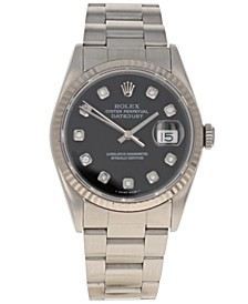 Men's Swiss Automatic Datejust Oyster Diamond (1/8 ct. t.w.) Stainless Steel Bracelet Watch 36mm