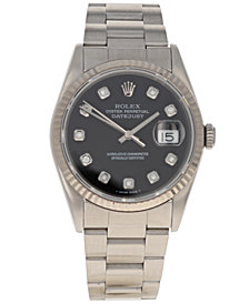 Pre-Owned Rolex Men's Swiss Automatic Datejust Oyster Diamond (1/8 ct. t.w.) Stainless Steel Bracelet Watch 36mm